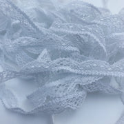 "3/8"" Scalloped Lace Trim - Stretch - White"