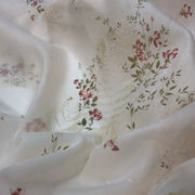 Flowers & Ferns - Polyester Cotton Woven - Ivory / Red / Green / Rust - 1/2 Meter
