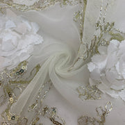 Decorative Sequin Floral - Knit - White - 1/2 Meter