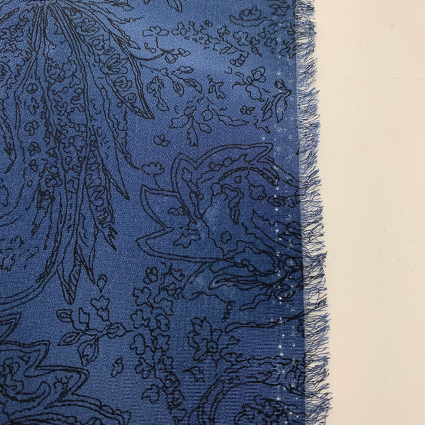 Floral Sketch - Polyester Woven - Blue - 1/2 Meter