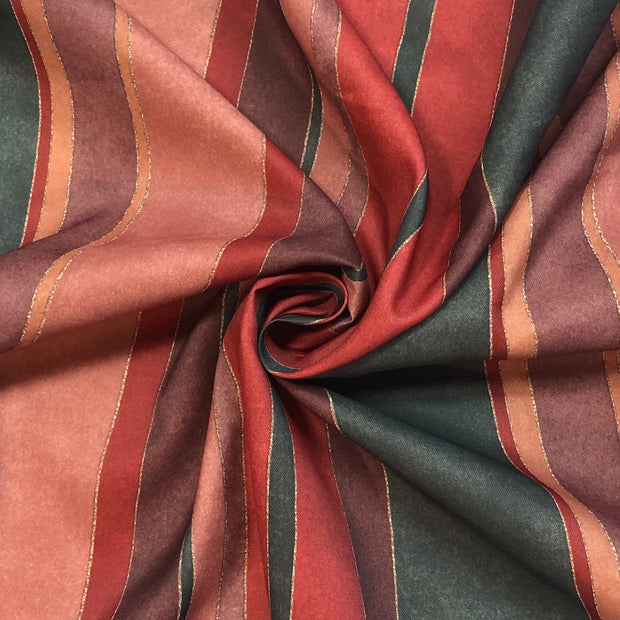 Holiday Table Runner - Polyester Woven - Red / Dark Green / Maroon - 1/2 Meter