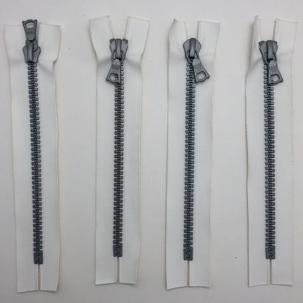 "5.5"" Plastic Molded Zipper - Closed-End - White / Silver Coloured - Individual"