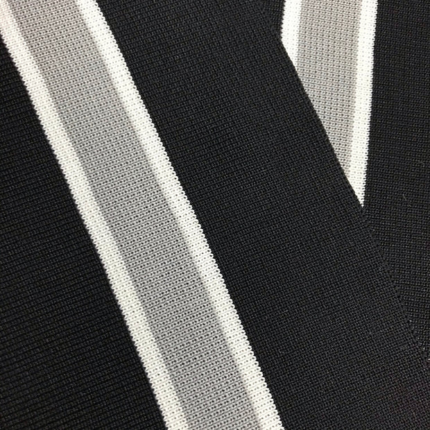 Ribbed Knit Waistline  - Premade - Black with Grey and White Stripes - FABCYCLE shop