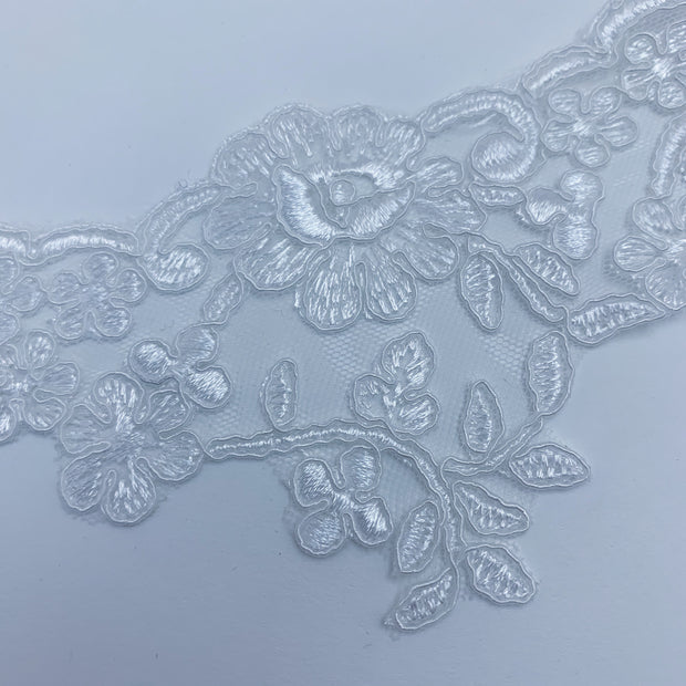 "3 1/2"" Floral Lace Trim - Non Stretch - White - 1.12M Bundle"