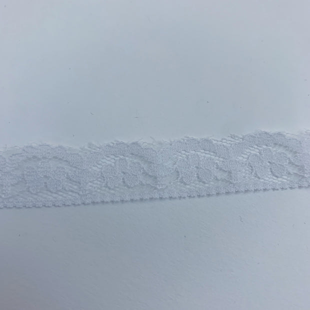 "1/2"" Floral Lace Trim - Stretch - White"