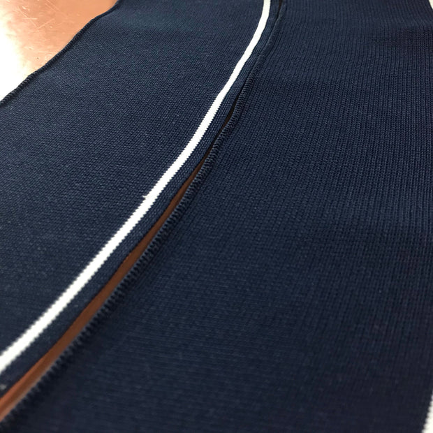 Ribbed Knit Collar - Premade - Dark Navy Blue with White Stripe - FABCYCLE shop
