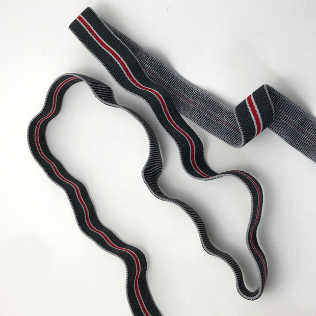"Suspender Elastic 1"" - Grey / White / Red - 1 Meter"