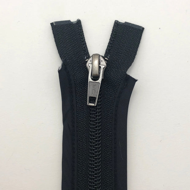 "25"" Coil Zipper with Bounded Edge -  Seperating - Black / Black - Individual"