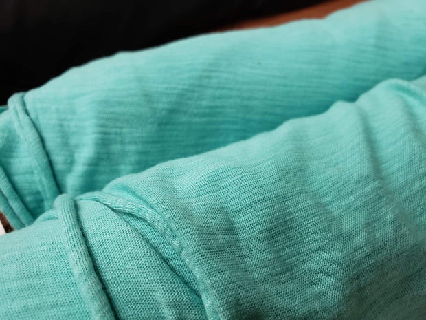 Organic Cotton Bamboo Slub - Teal- 1/2 meter - FABCYCLE shop