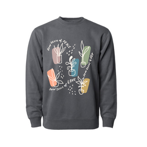 "Load image into Gallery viewer, ""Sowing Seeds"" - Charcoal Sweatshirt"