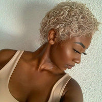 Blond super short curly hair