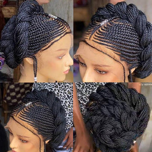 100% Hand-Braided Braided Wig,Cornrow Wig, 13*6 Frontal Wig,Full Lace Wig