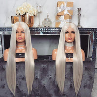 Long Silver Straight wig