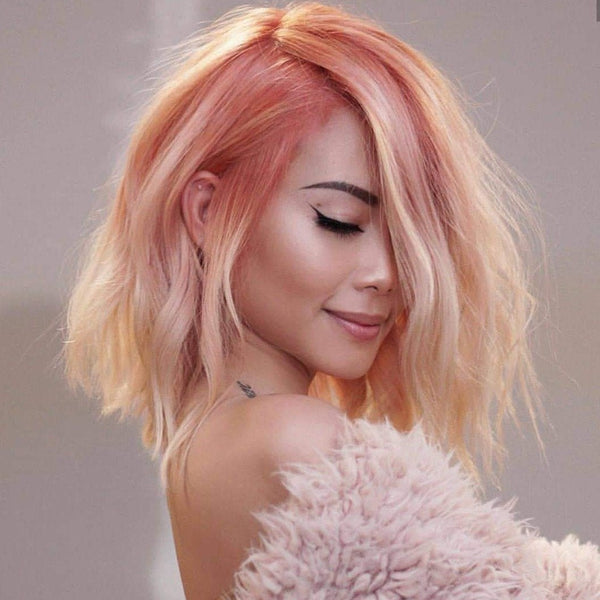 Sweet Peachy Colored Wave Short Wig