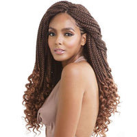 Crochet Hair Box Braids Curly Ends(Red/Black/Brown)