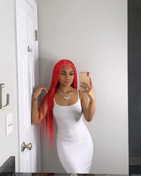 Scarlet red straight hair