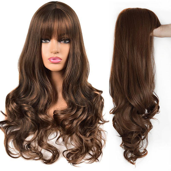 2020 New Season Long Curly Brown Hair With Bangs