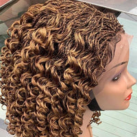 Curly Braids Brown Short Braided Wigs