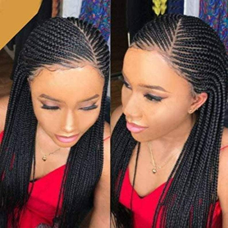 100% Hand Braided Side Part Cornrow 13x5 Braided Lace Wig