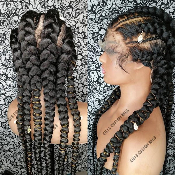 Stitch Feed-In Braids, Full Lace Wig Braided Cornrow Wig With Hair Jewelry