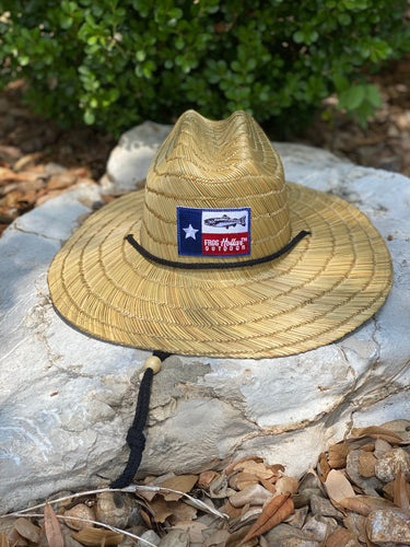 Straw Hat with Trout Patch