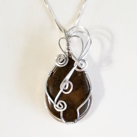 "Bronzite and Sterling Silver Pendant on an 18"" Sterling Silver Chain"