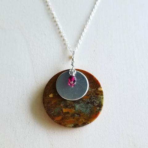 "Flame Jasper and Garnet Sterling Silver Pendant on 18"" Sterling Silver Chain"