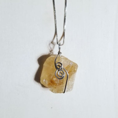 "Citrine and Sterling Silver Pendant on an 18"" Sterling Silver Chain"