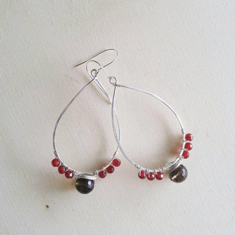 Garnet and Smoky Quartz Earrings
