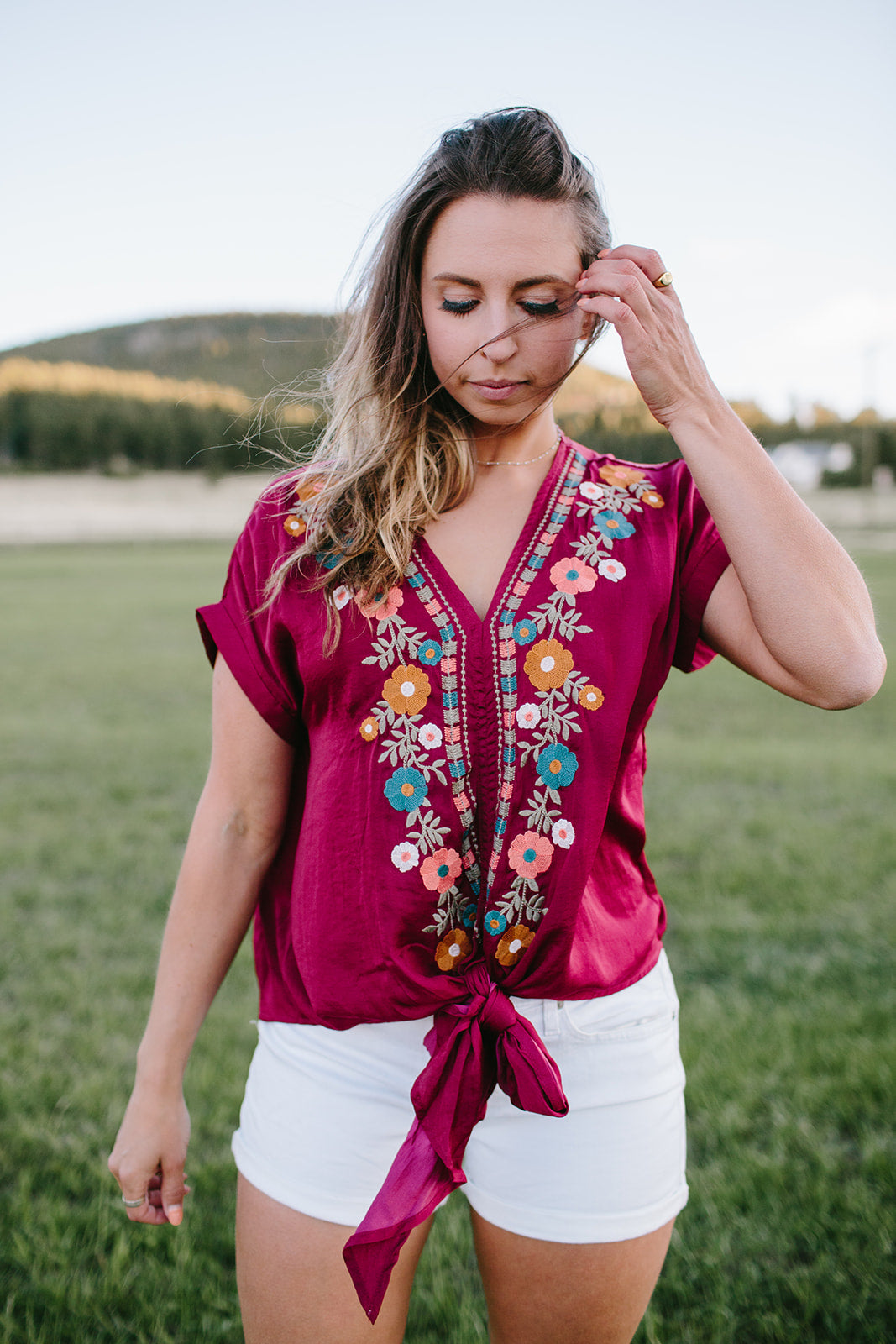 Burgundy Floral Embroidered Top