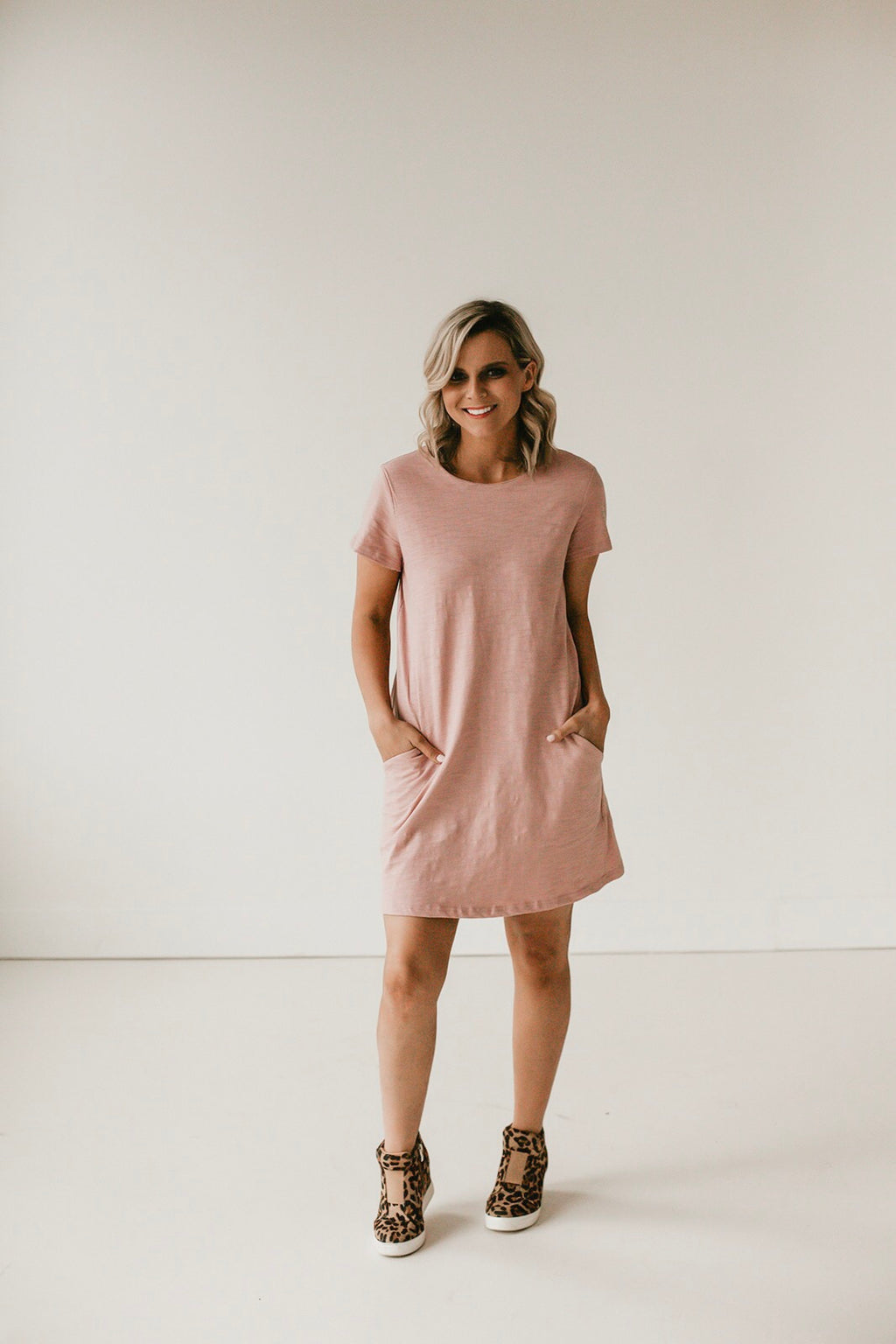 Pink Casual Pocket Dress