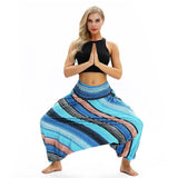 Pantalon Ample Yoga Bleu
