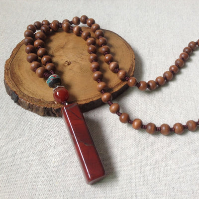 COLLIER YOGA JASPE ROUGE