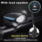 USB Rechargeable Bicycle Light 3 Modes Multi-function Ultra Bright Electric 5 Sounds 120db Horn Bell