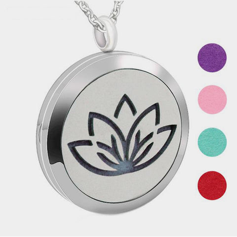 Stainless Steel Lotus Flower Aromatherapy Locket Pendant Necklace