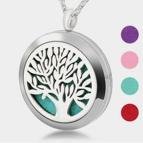 Stainless Steel Magic Tree of Life Aromatherapy Locket Pendant Necklace