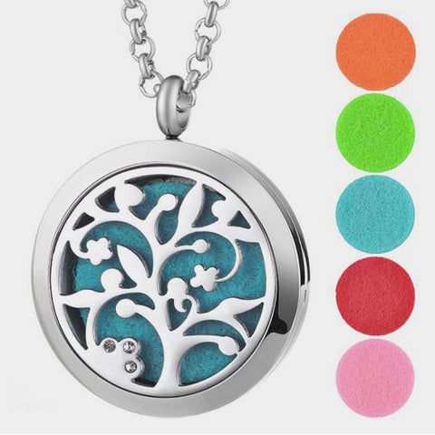 Stainless Steel Mysterious Tree of Life Aromatherapy Locket Pendant Necklace