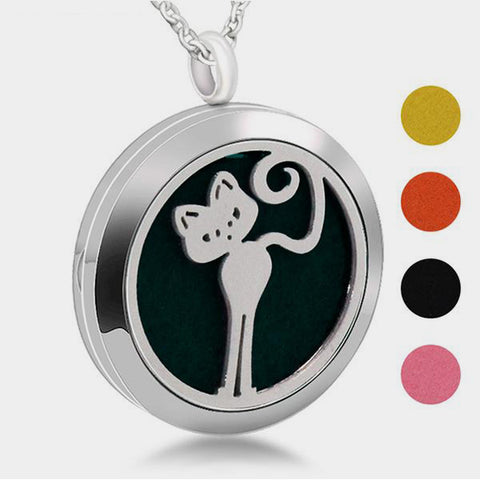 Stainless Steel Playful Cat Aromatherapy Locket Pendant Necklace