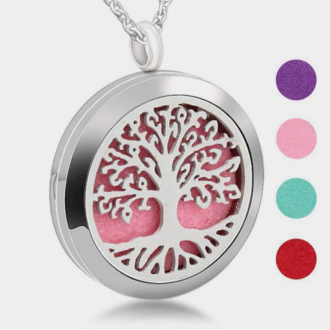 Stainless Steel Glorious Tree of Life Aromatherapy Locket Pendant Necklace