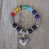 Handmade Healing Heart Bracelet With 7 Chakra Gemstones