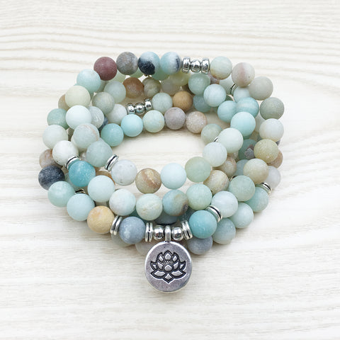 Beautiful Amazonite 108 Mala Beads Bracelet