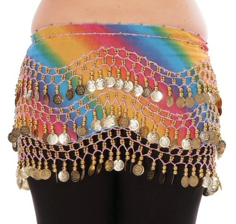 Chiffon Belly Dance Hip Scarf with Beads & Coins - RAINBOW BLUE / Silver - Tree Of Life Shoppe