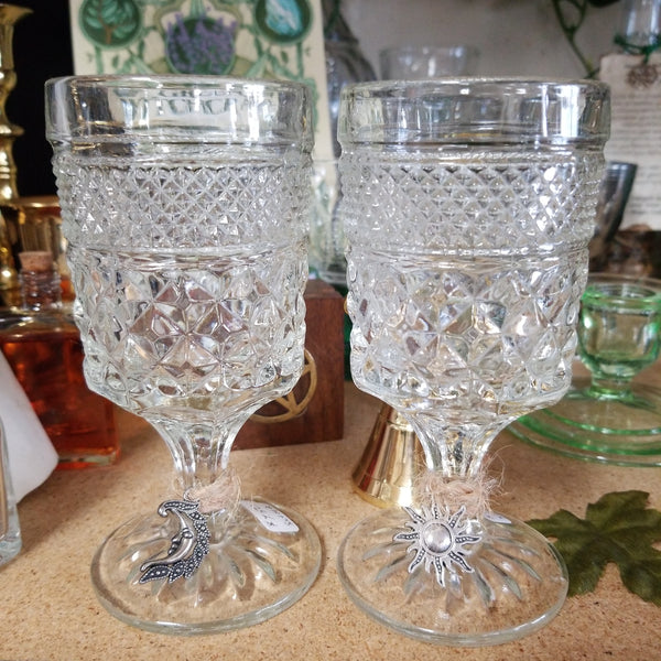 Crystal Cut Goblets set of 2 (sun and moon charms)