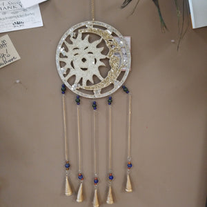 Mosaic Sun and Moon Wind Chime with Bells