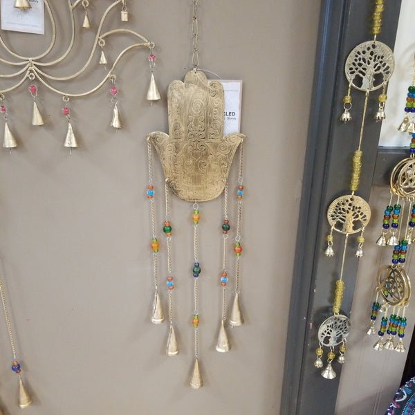 Hamsa / Fatima Hqnd Recycled Iron Bells and Chimes Wind Chime