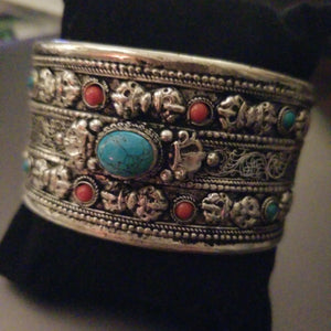 Gypsy Silver Bracelet - Turquoise Center Cuff
