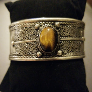 Gypsy Silver Bracelet - Tiger Eye Center Cuff