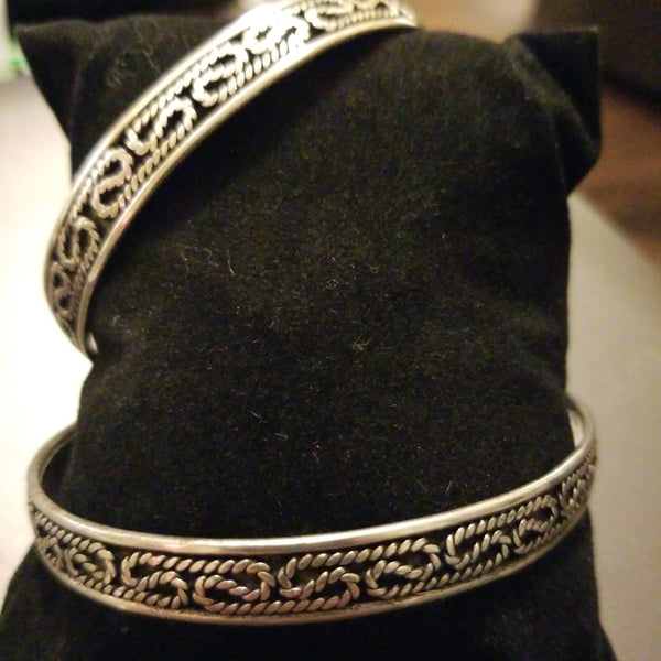 Gypsy Silver Bracelet - Thin Filigree Rope Cuff - Tree Of Life Shoppe