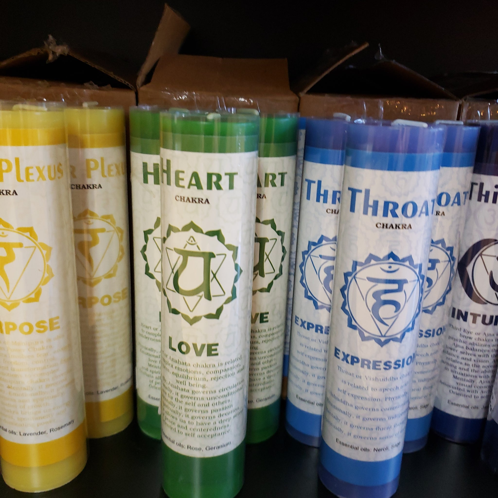 Chakra Scented Pillar Candles- Heart 7""