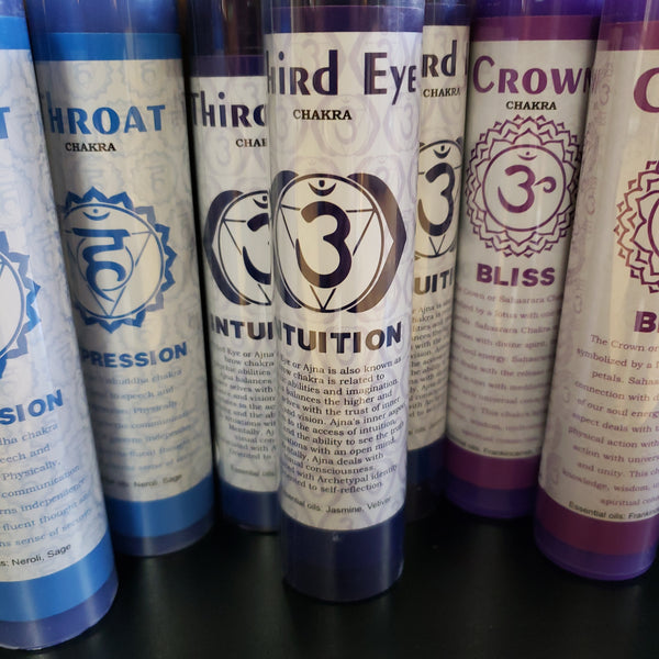 "Chakra Scented Pillar Candles- Third Eye 7"" - Tree Of Life Shoppe"